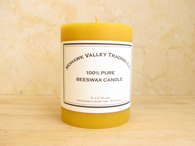 "100% Pure Beeswax Pillar Candle - 3"" x 4"""