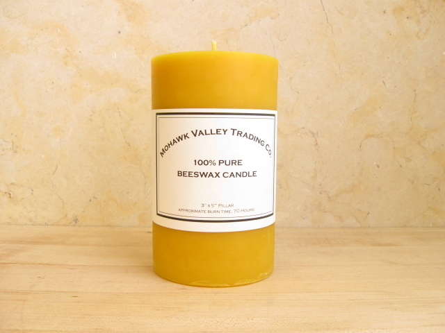 "100% Pure Beeswax Pillar Candle - 3"" x 5"""